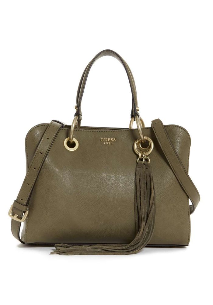 64968a7ba CARTERA GUESS DIXIE SATCHEL OLV OLIVA - Guess Chile