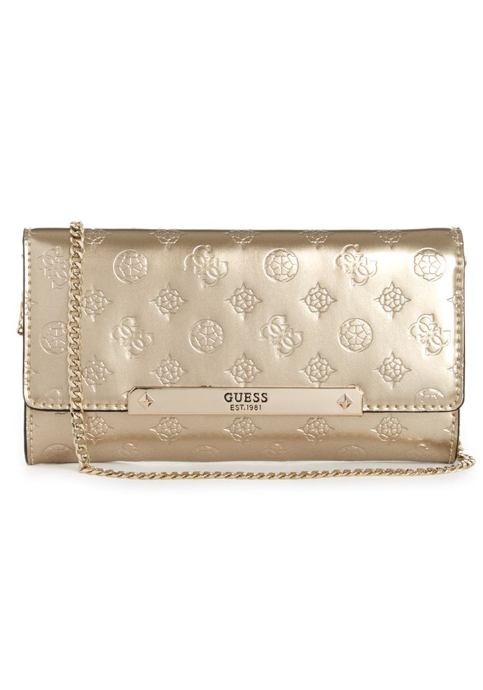 comprar popular famosa marca de diseñador gran descuento para MINI CARTERA GUESS HIGHLIGHT CLUTCH CHA DORADO TU