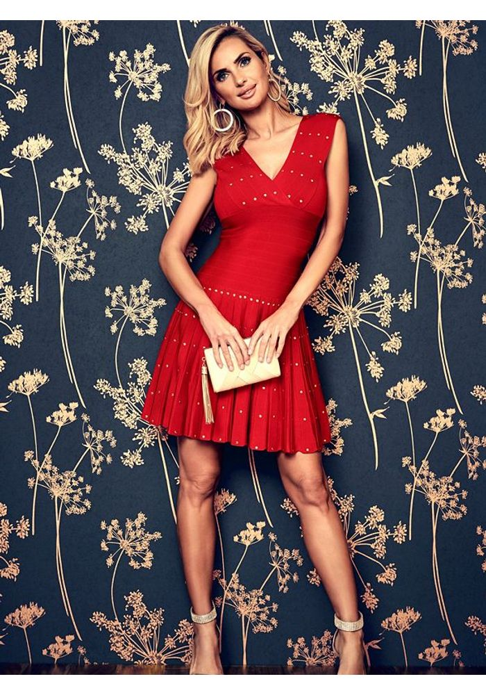 Vestido Guess Dont Speak Bandage Dress G5c1 Rojo